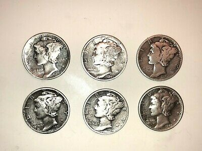 1940-1945 (6) Mercury Head Dimes U.S. Mint FREE SHIPPING 90% SILVER