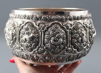 Large Antique Handmade 800 Indo-Persian Silver Bowl, Repousse Animals, NR