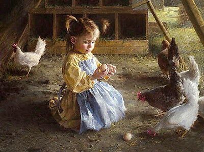 """Hand painted Oil painting lovely and cute little girl with eggs hens canvas 36"""""""