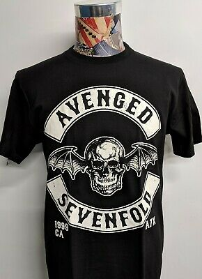 eac0268d3 New Avenged Sevenfold Bat Wings Skull 1999 Ca A7X Heavy Metal Black Rock T  Shirt