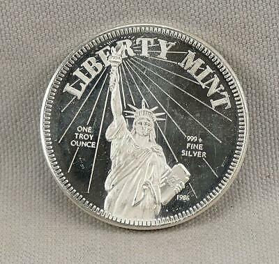 1986 LIBERTY MINT One Ounce Troy .999+ Silver Round! No Reserve!