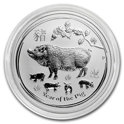 2019 ~ 1/2~OZ. .9999 SILVER ~ LUNAR  YEAR of the PIG ~ PERTH MINT ~ GEM ~ $22.88