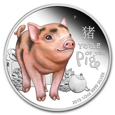 NEW~ 2019 ~ YEAR of the BABY PIG ~ 1/2~OZ ~ SILVER PROOF ~ COLORIZED GEM~ $58.88