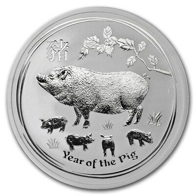 2019 ~ 2~OZ .9999 SILVER ~ LUNAR YEAR of the PIG ~ PERTH MINT ~ GEM COIN ~ $9.99