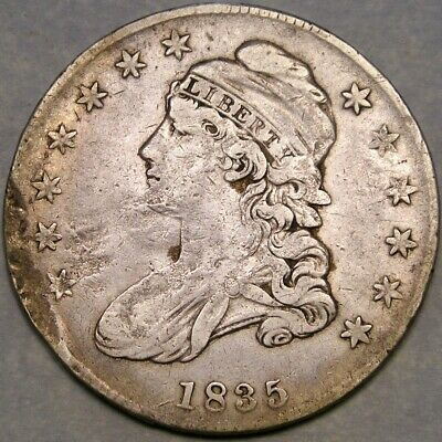 1835 Capped Bust Letterd Edge Silver Half Dollar Scarce—Wounded W/ptsd O-103 R.2