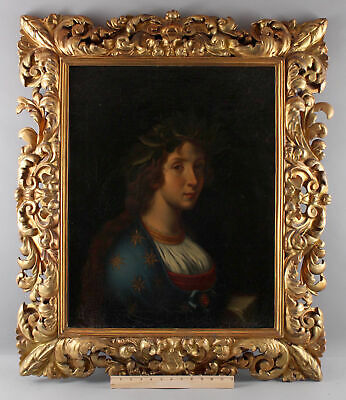 Antique Italian Portrait Oil Painting Woman af Carlo Dolci LA POESI Carved Frame