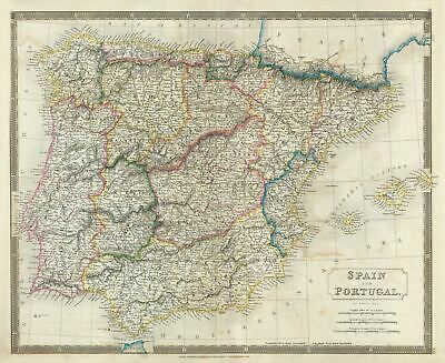 1835 Hall Map of Spain and Portugal