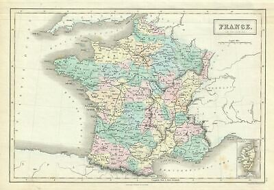 1851 Black Map of France in Provinces