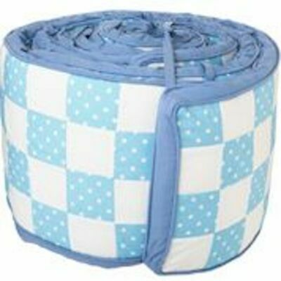 baby bed bumper cot pad protector 4 piece set freckle boy blue And white