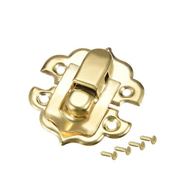 Box Latch, Small Size Golden Decorative Hasp Jewelry cases Catch w Screws 2 Sets