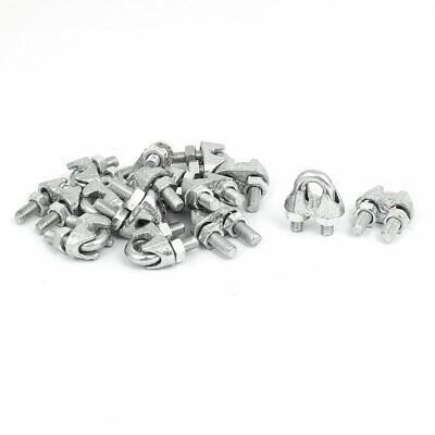 Metal Wire Cable Rope Clips U Bolt Saddle Clamps Fasteners Silver Gray 15pcs