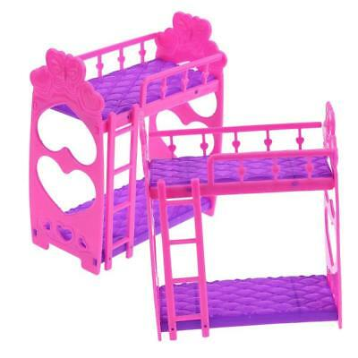 Mini Dollhouse Furniture Doll Plastic Bunk Bed Barbie House Toy Gift GH