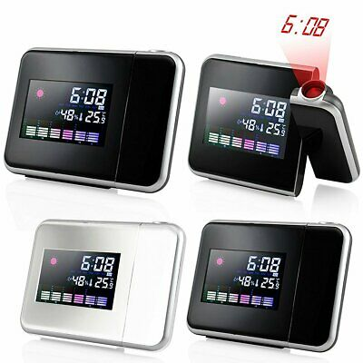 Digital LED Projection Clock Time Weather Thermometer Snooze Alarm LCD Backlight
