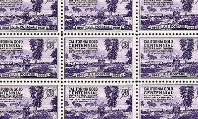 1948 - CALIFORNIA GOLD - #954 Full Mint -MNH- Sheet of 50 Postage Stamps