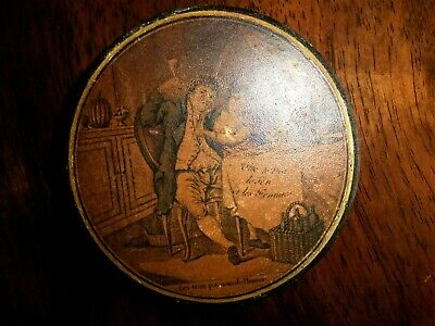 """Antique  Early19Thc French Papier Mache Snuff Box """"vive Le Vin"""" - Playing Cards"""