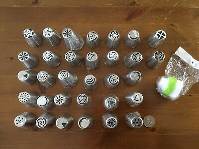 Job Lot Of 32 Stainless Steel Cake Pastry Piping Nozzles Tips Baking