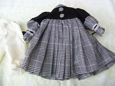 Alte Puppenkleidung Black White Dress Outfit vintage Doll clothes 40 cm Girl