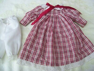 Alte Puppenkleidung Red Black White Dress Outfit vintage Doll clothes 40 cm Girl