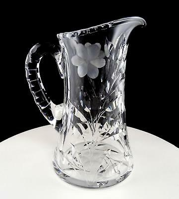 """American Brilliant Cut Daisy And Oleander Leaf 9 1/4"""" Pitcher"""