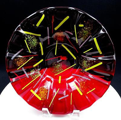 """Studio Art Glass Ruby Red Fused Glass 9 5/8"""" Fluted Bowl"""