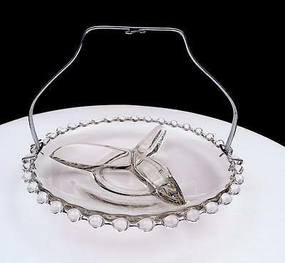 """Depression Era Clear Glass Beaded Rim Silver Handle 3 Part 7"""" Divided Dish"""
