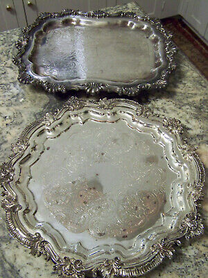 Rococo Style Party Silver - Grab Bag Shabby Chic Lot - 2 Fancy Footed Trays