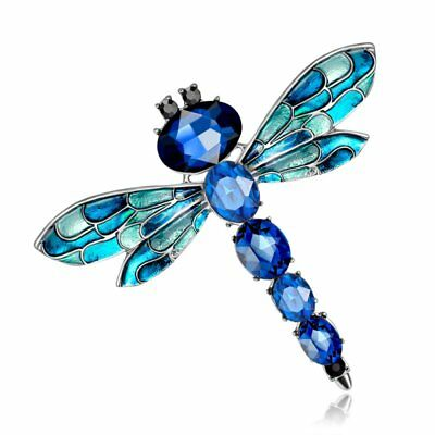 Fashion White Gold GP Dragonfly Animal Crystal Brooch Pin Wedding Jewelry Gift