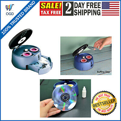 Disc Cleaner DVD CD Reconditioner Cleans Blu Ray Discs Repair Storage Drawer USA