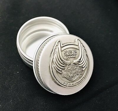 Harley-Davidson Motorcycle 105 Years Hog Biker Pewter Silver Stash Pill Box