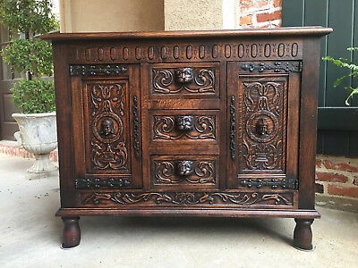 Antique French Carved Oak Gothic Renaissance Cabinet Sideboard Buffet