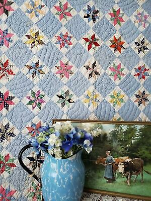 OH MY TINY STARS! Vintage 30s French Blue and Small Scale Stars QUILT 77x71