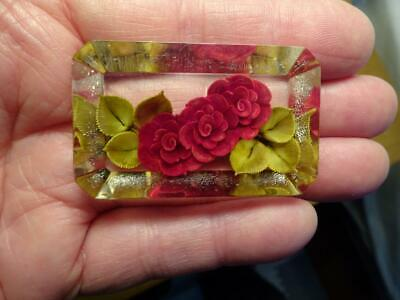 C1940s ANTIQUE Art Deco Style LUCITE RED ROSE FLOWER Brooch Pin-OLD ESTATE FIND
