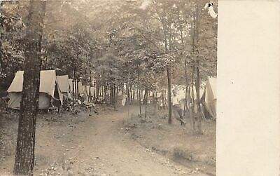 F19/ Milford Pennsylvania RPPC Postcard 1907 Tents Camp Forest