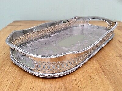 Superb Sheffield Silver On Copper Chased Rise & Fall Cocktail Gallery Tray C1920
