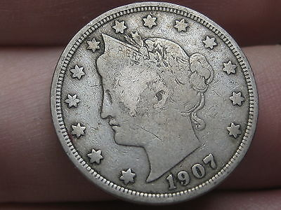 1907 Liberty Head V Nickel- Fine Details, Full Rims