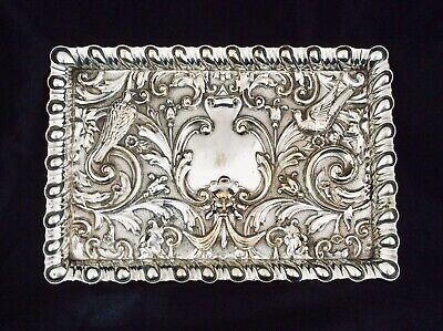 Antique Art Nouveau Repousse Silver Plated Tray Love Birds & The Green Man C1900