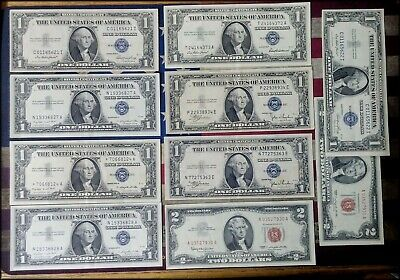 $12 Face Value Silver Certificates & Red Seal $2 Bills Star Note