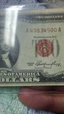 1953 A $2 Two Dollar Bill RED SEAL Very good condition circulated.