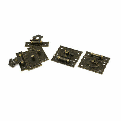 Antique Style Case Box Rectangle Clasp Closure Hasp Latches Bronze Tone 4 Pcs