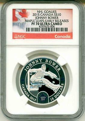 2015 S$10 Canada NHL Hockey Goalies Johnny Bower Maple Leafs ER NGC PF70 UC