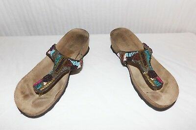 e40d6050007469 White Mountain Beaded Platform Thong Sandals Molded Cork Footbed Size 6M