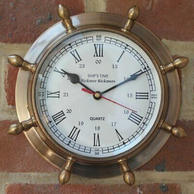 Solid antique brass ships porthole wheel with wall clock