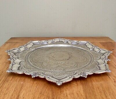 """Antique 19th C. STAR FORM 14""""  Silver Plated Salver Tray JOHN ROUND & SON C1865"""