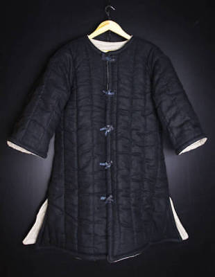 Medieval thick padded Black Gambeson with closed open Armpits jacket coat