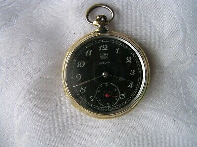 Jewelry & Watches Pocket Watches Wwii Antique German Pocket Watch Umf Ruhla Saturn Black Dial