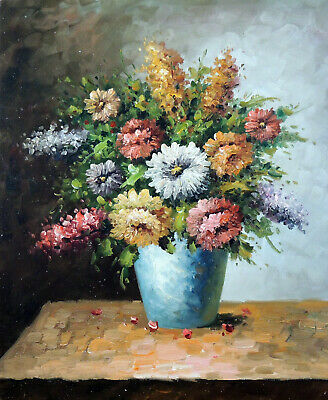 Flower Arrangement Blue Vase Pink Yellow White Rose Stock Stretched Oil Painting