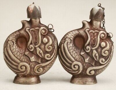 2 CHINESE Tibetan Silver HANDMADE CARVED DRAGON SNUFF BOTTLE COLLECTION GIFT