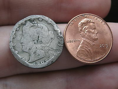 1907 Liberty Head V Nickel- Size of a Penny!! Unique, Spooned?
