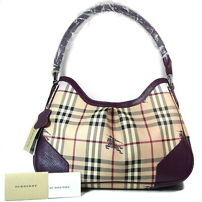 d9aa43809cea BURBERRY Haymarket Check Leather Hobo Shoulder Tote Purse Bag Purple Vintage
