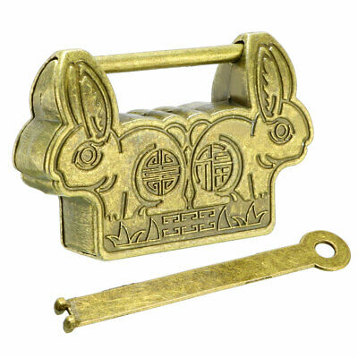 60mm Body Wide Padlock Antique Chinese Old Style Zinc Alloy Brass Plated